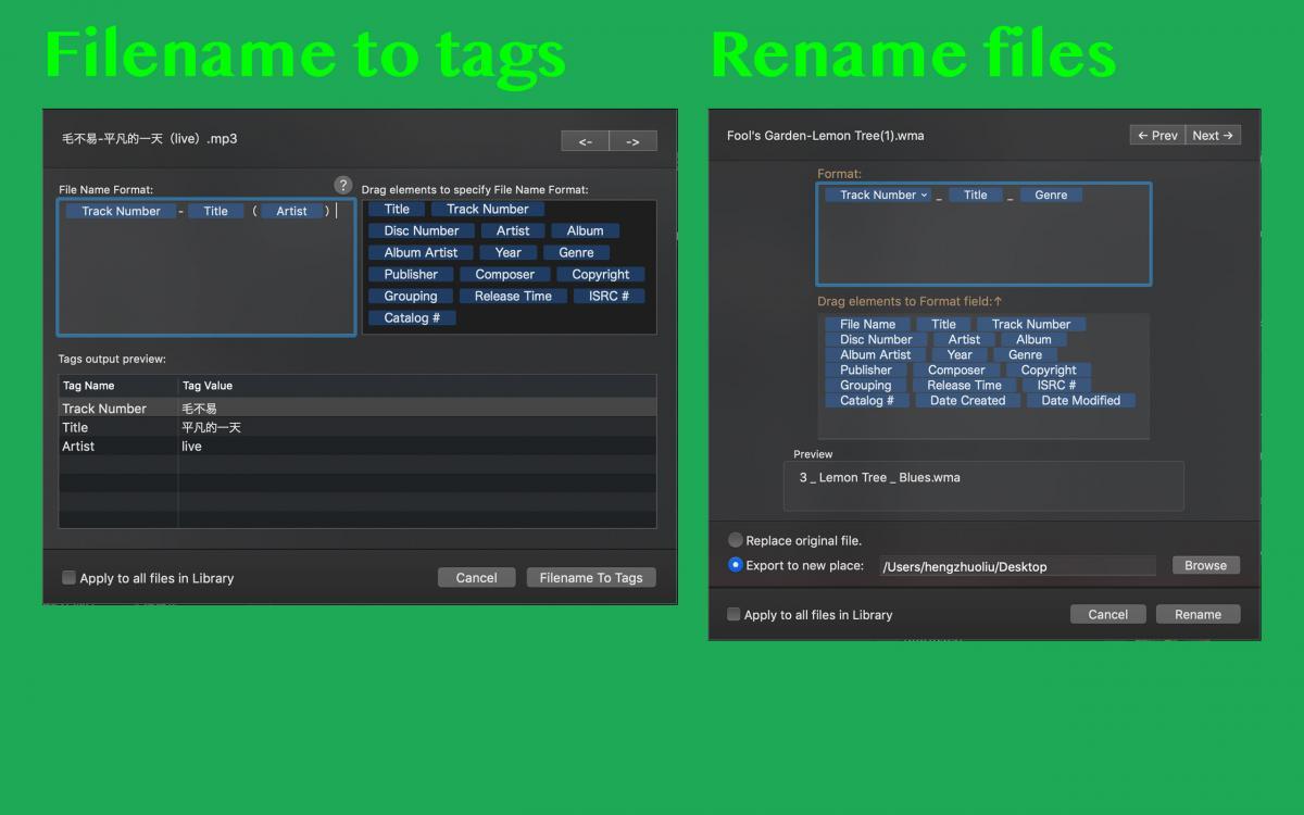rename and filename to tag